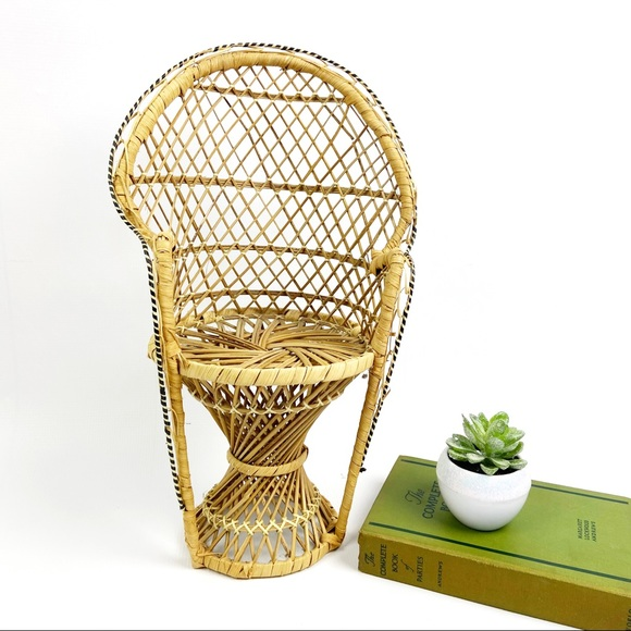 Vintage Wicker Mini Peacock Chair Plant Stand